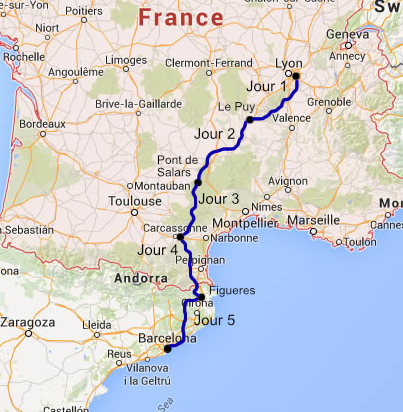 Map Of Southern France And Spain.Motorcycle Tour France Trail To South